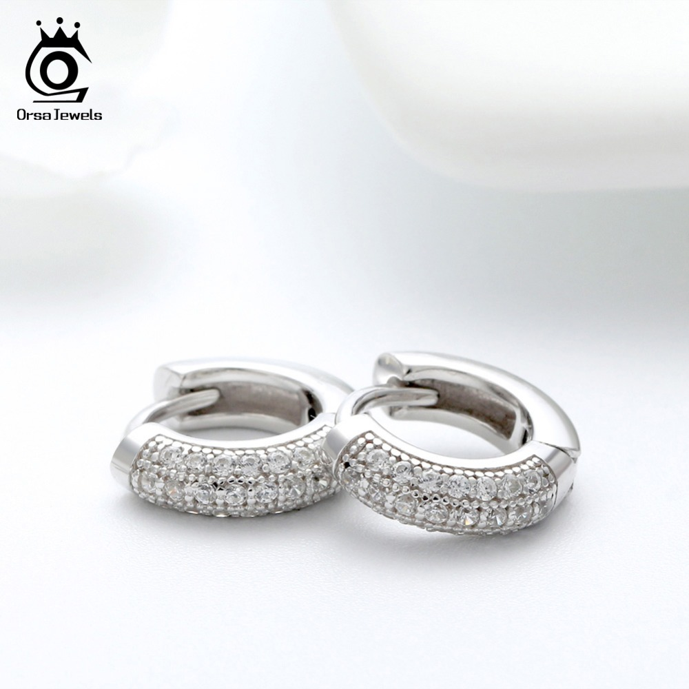 ORSA JEWELS Real 925 Sterling Silver Vintage Earrings Women With Clear Zircon 10mm Small Hoop Earing Female Jewelry Gift OSE103 in Earrings from Jewelry Accessories