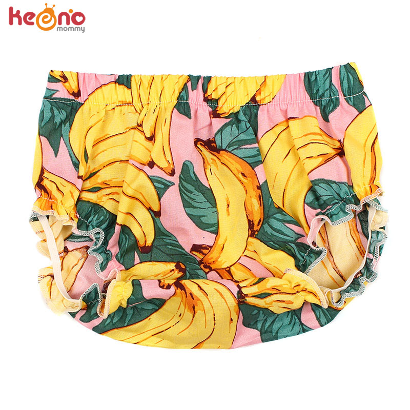 Baby Banana Pattern Bloomer Short Newborn Unisex Fruit Print Cotton Diaper Cover Boho Baby Boys Girls Clothes Sunsuit 0-24M