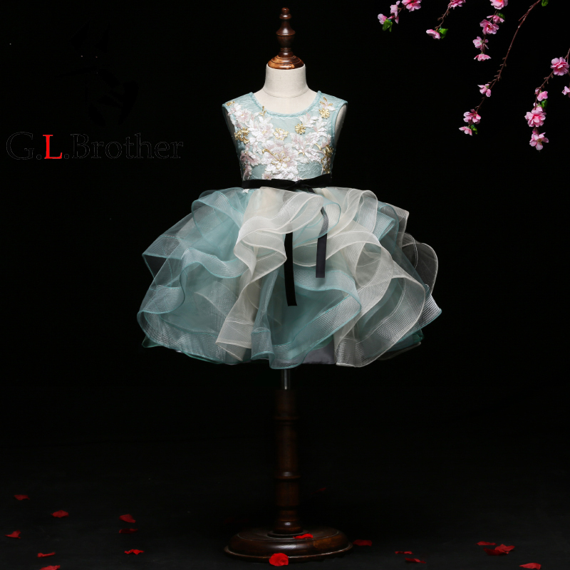цена Luxury Kids Girls Ball Gown Dress Emboridery Floral Girl's Costume Clothing Sleeveless Short Lace Up Banquet Dresses S225