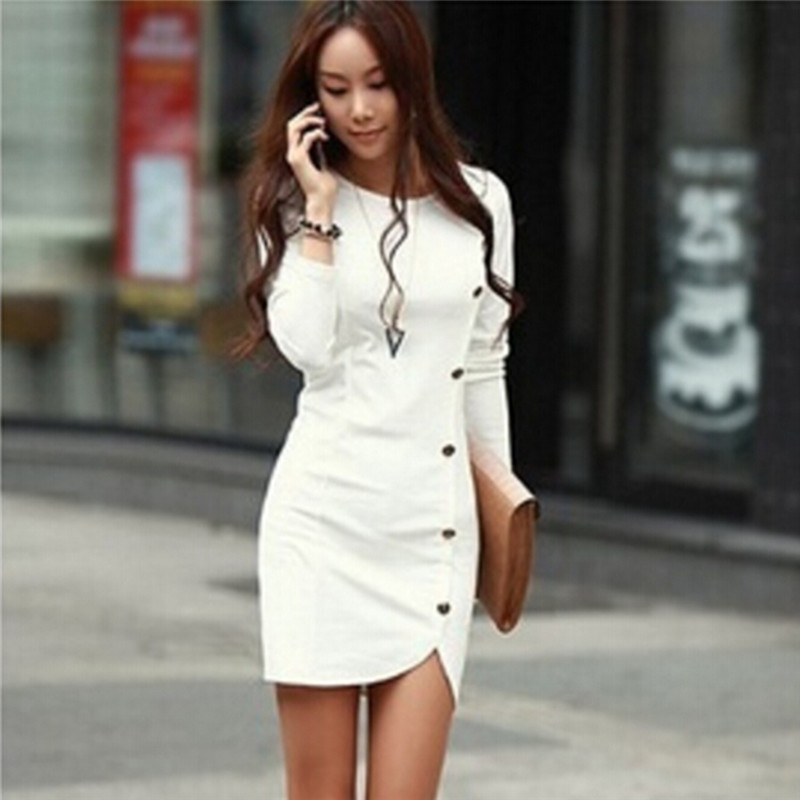 Elegant Button Bodycon Dress Women White Long Sleeve Sexy Party Dresses Autumn Winter Warm Midi Dresses Excellent In Cushion Effect Women's Clothing