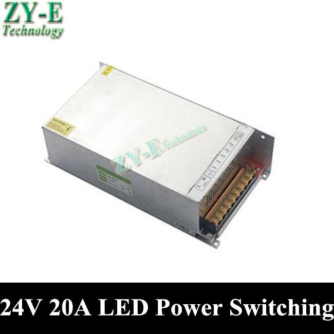 1X480 W 24 V 20A alimentation LED transformateur d'éclairage commutation alimentation pilote 5050 bande lumière affichage AC110V-240V à 24 V