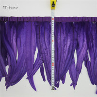 10 yards 30 35cm purple Feather Ribbon Dyed Rooster Feather Fringe Trim For Wedding Party Decoration DIY Clothes Accessories