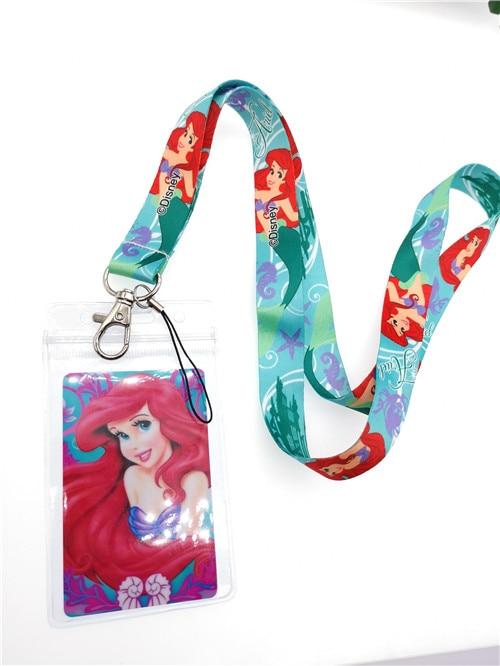 1PCS cartoon little mermaid Lanyard Neck Strap ID Card Badge Bus subway Holder