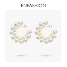 4240ffc08f8c Enfashion perla aretes para las mujeres de Color oro ronda Pendientes de  gran círculo Aros Pendientes joyería de moda Pendientes.