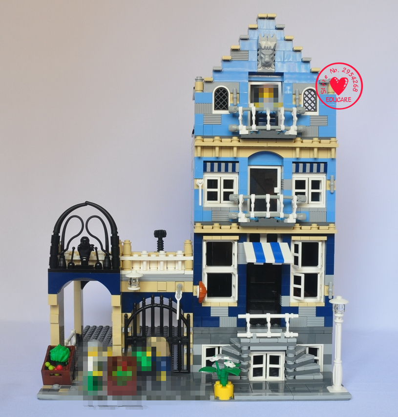 цена на New City Streetview Market fit legoings city creator house figures Model Building Block Bricks Toy Kit DIY 10190 gift kid Set