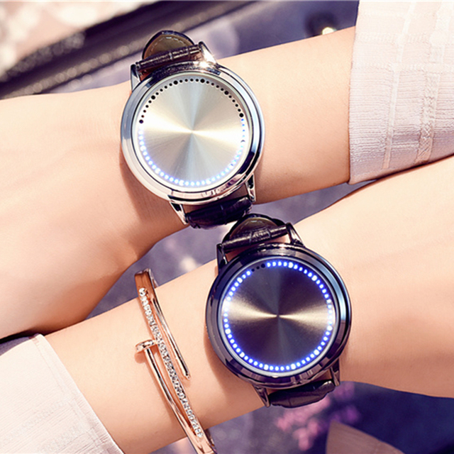 Fashion Cool LED Tree Touch Screen Blue Lights watches Genuine Leather Strap Dig