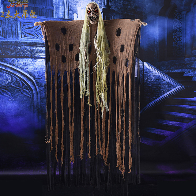 Halloween Ghost Props Long Hair Halloween Creepy Ghost Skull Carnival Horror Hanging Ghost Ornaments Scary Halloween Decoration