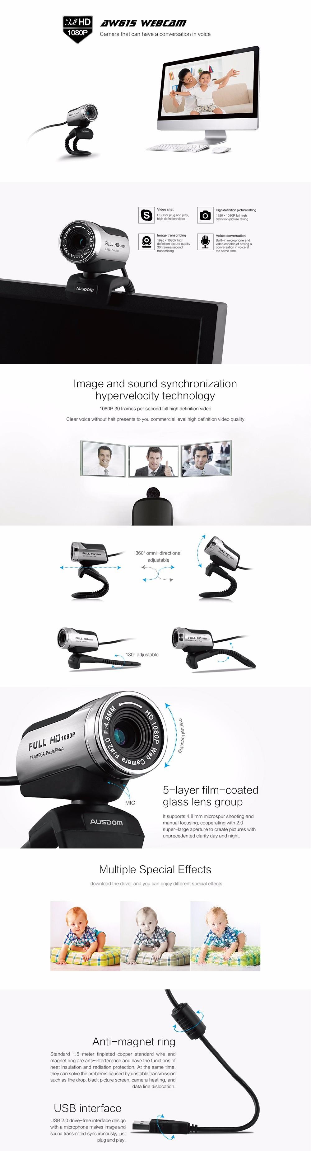 AUSDOM Web Camera AW615Web