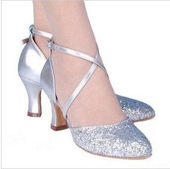 Koovan Women Dance Shoes 2017 New Fashion Dancing Woman Shoes High Heel Bling Silver Golden Genuine Leather Heel 3.5-5.5cm shoes woman new high heel women bling ballroom dancing modern dance shoes h2063 t15 0 5