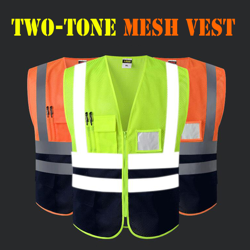 Security & Protection Safety Clothing Reflective Polyester Mesh Vests With Pockets For Construction Worker In Summer Silk Screen Company Logo Printing