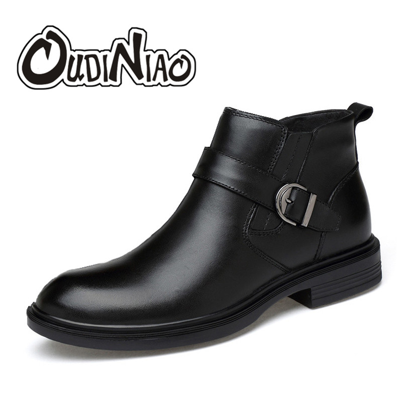 OUDINIAO Classic Cow Leather Pointed Toe Warm Plush Ankle Men Boots Buckle Elastic Band Designer Fashion Winter Boots Men Big oudiniao classic split leather pointed toe warm plush ankle men boots buckle lace up designer fashion winter boots men big size