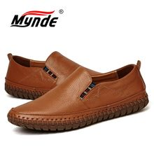 MYNDE Men Genuine Leather Shoes Fashion Casual Male Shoes Men Flats Shoes Slip On Leather Mens Loafers Big Size Shoes Men