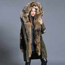 2016 Winter jacket Women down jackets White duck down women's  down coat large raccoon fur thicken long design outerwear twinset