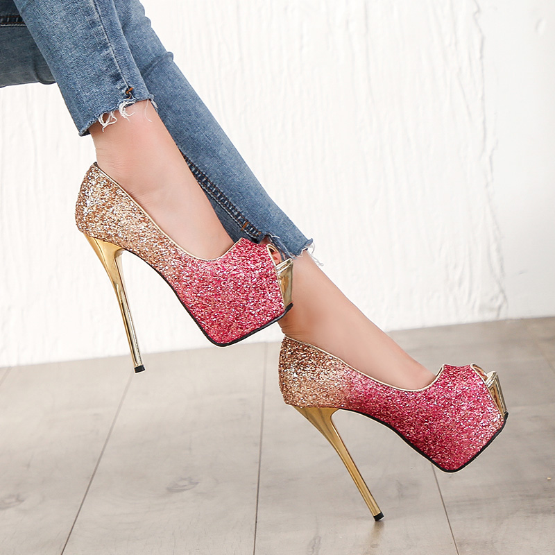 sequined high heels summer women Super High Heels Sexy shoes platform shoes pumps Wedding Party 14cm womens platform high heels in Women 39 s Pumps from Shoes