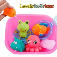 9pcs/lot Summer Baby Bath Toys Animal Water Spray Toy Kids Bathroom Floating Squeeze Squeaky Bathing For Children
