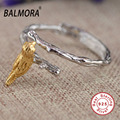 BALMORA 100% Real 925 Sterling Silver Jewelry Cute Bird Opening Rings for Women Men Lovers Gifts Accessories Anillos SY21225
