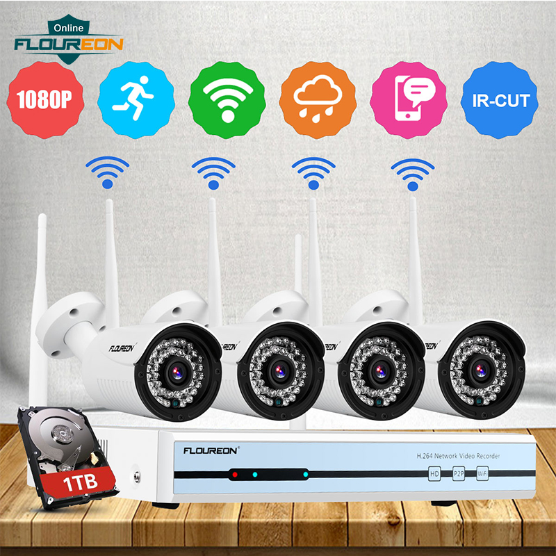Floureon 4CH Wireless CCTV 1080P DVR Kit Outdoor WiFi WLAN 720P Camera 1TB HDD Video Surveillance Recorder NVR Security System