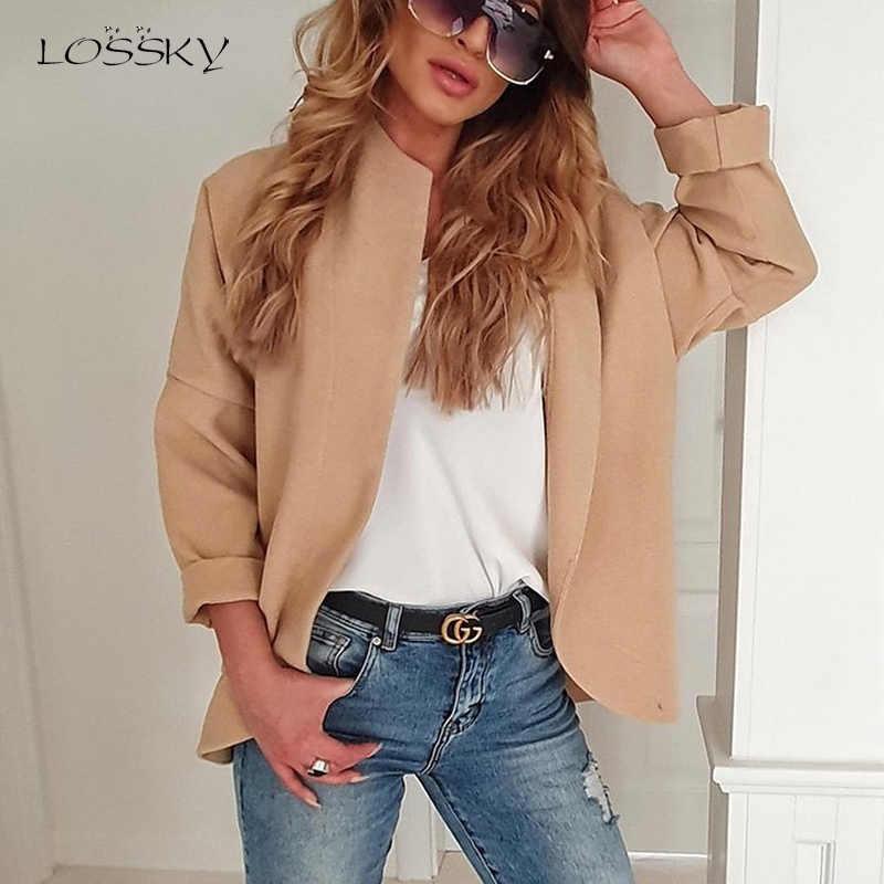 Lossky chaquetas de mujer Chaquetas de manga larga Irregular otoño caqui gris Casual Cardigan chaqueta elegante Oficina Slim abrigos
