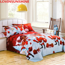 3d Cartoon fashion Christmas Duvet Cover White Red Bedding sets Snowman windmill gift Print Bed The bird Christmas pillow case(China)