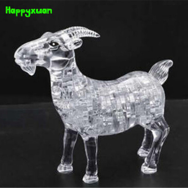 Happyxuan Goat Plastic DIY 3D Jigsaw Crystal Puzzle Educational Toys or Home Decoration Birthday Gif t for Children