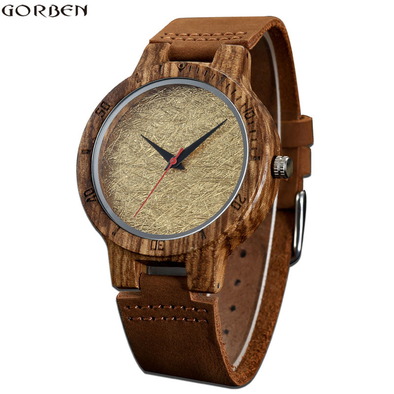 GORBEN Top Brand Wood Watches Golden Line Dial Luxury Bamboo Watch For Men's Fashion Quartz Leather Band Wristwatches Male Clock люстра потолочная colosseo zoe 80332 8c