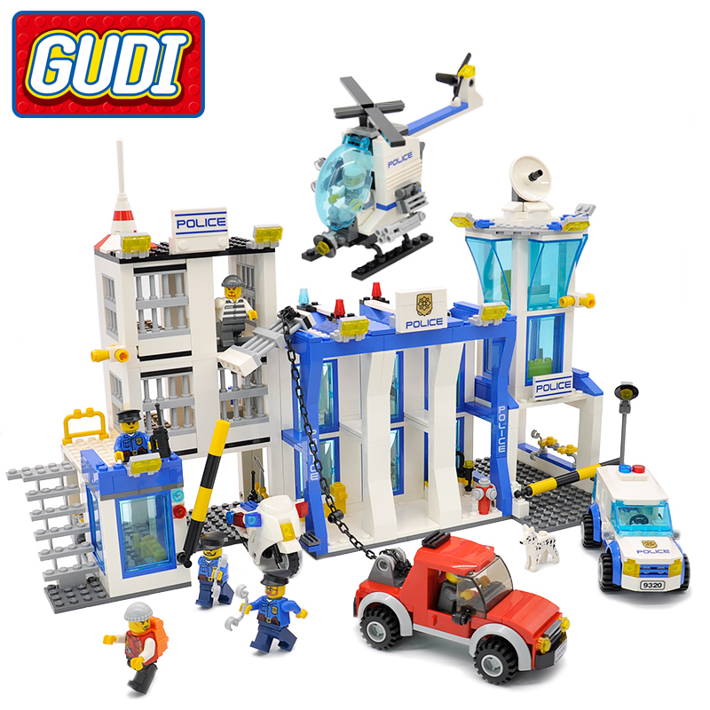 GUDI Blocks Legoings City Street Police Station Building Blocks 870pc Bricks Helicopter Birthday Gift Toys for Children 870pcs city police station big building blocks bricks helicopter boys toys birthday gift toy brinquedos compatible with legoing