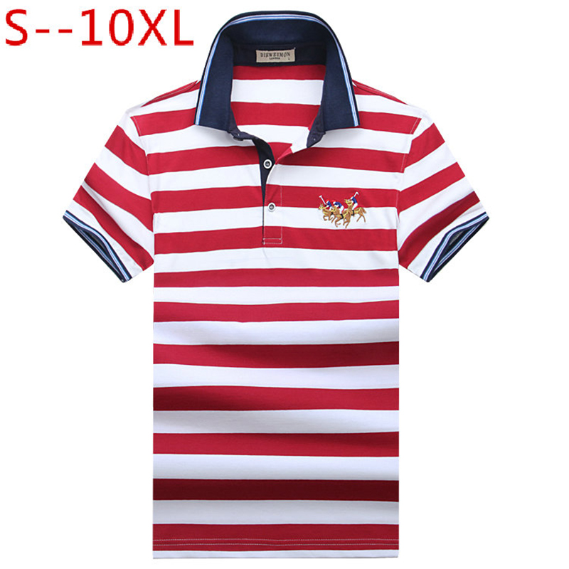 10XL High Quality Brand Striped Shirt Men   Polo   Men Shirts 2019 Casual Cotton Camisa   Polo   Masculina Breathable   Polos   Hombre