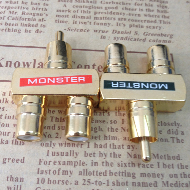 1pcs/lot Monster full copper gold plated lotus tee dual audio RCA 1 to 2 one male two  female transfer adapter gold plated rca male to 2 rca female adapter blue