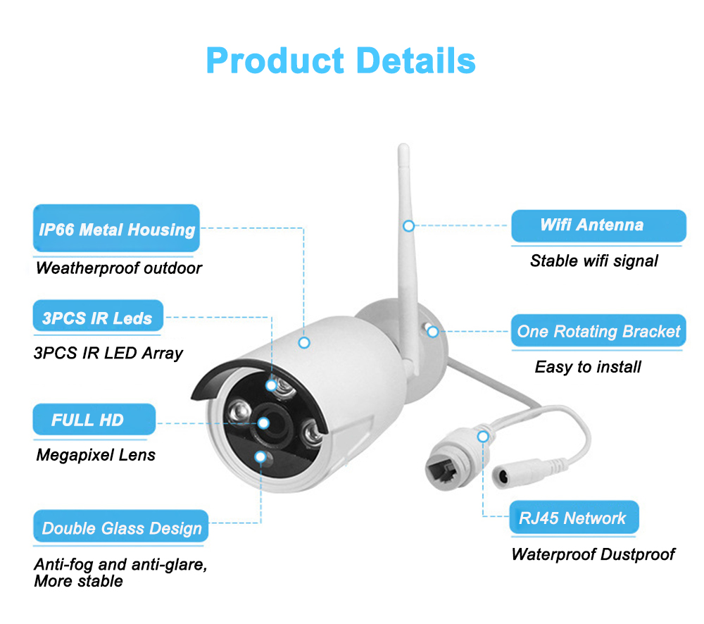 """IMPORX 8CH 1080P Wireless NVR Kits 10""""LCD Monitor 2MP WIFI Waterproof IP Camera CCTV System P2P Video Security Surveillance Sets-in Surveillance System from Security & Protection    3"""