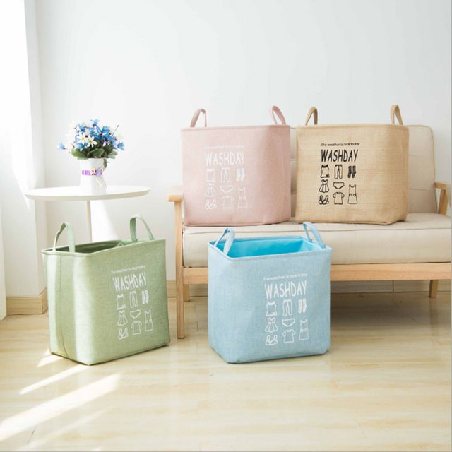 Cotton Linen Storage Basket For Toys Organizer Laundry Basket Foldable Dirty Clothes Hamper With Handle Container Box Waterproof