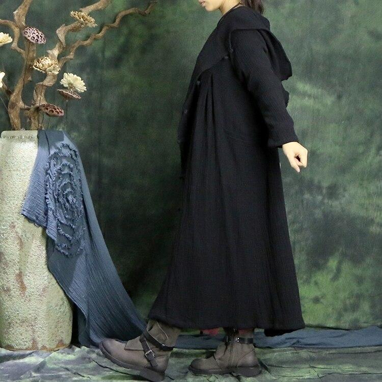 Solide Noir Plus Nouveau De Manteau Automne Cru Femmes Longue Lâche Avec Plaque Hiver 2016 Survêtement Capot Boutons La Tranchée Fluide Conception Taille xYwp41q