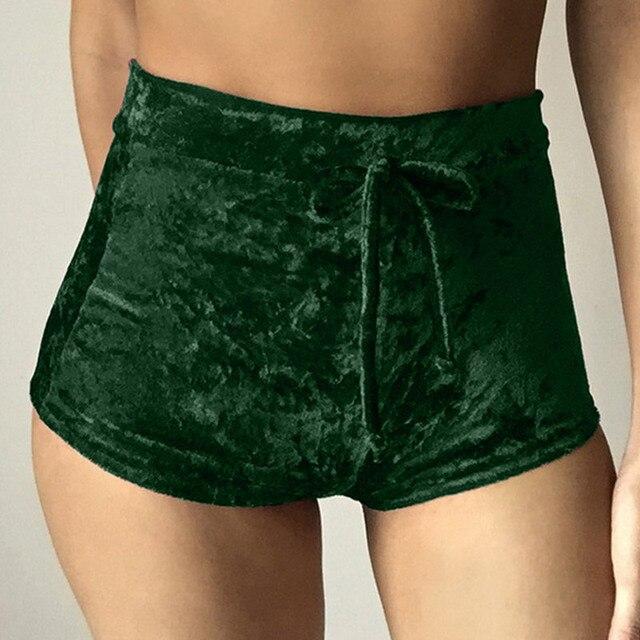 Velvet Drawstring Shorts Casual High Waist Spring Summer Sexy Skinny Short Pants 34