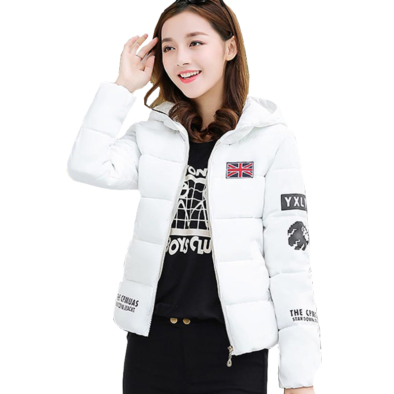 ФОТО 2017 Womans Short Winter Jackets Flag Print Korea Warm Thick Hooded Jacket Letters Graphic Quilted Coat Cappotti Donna