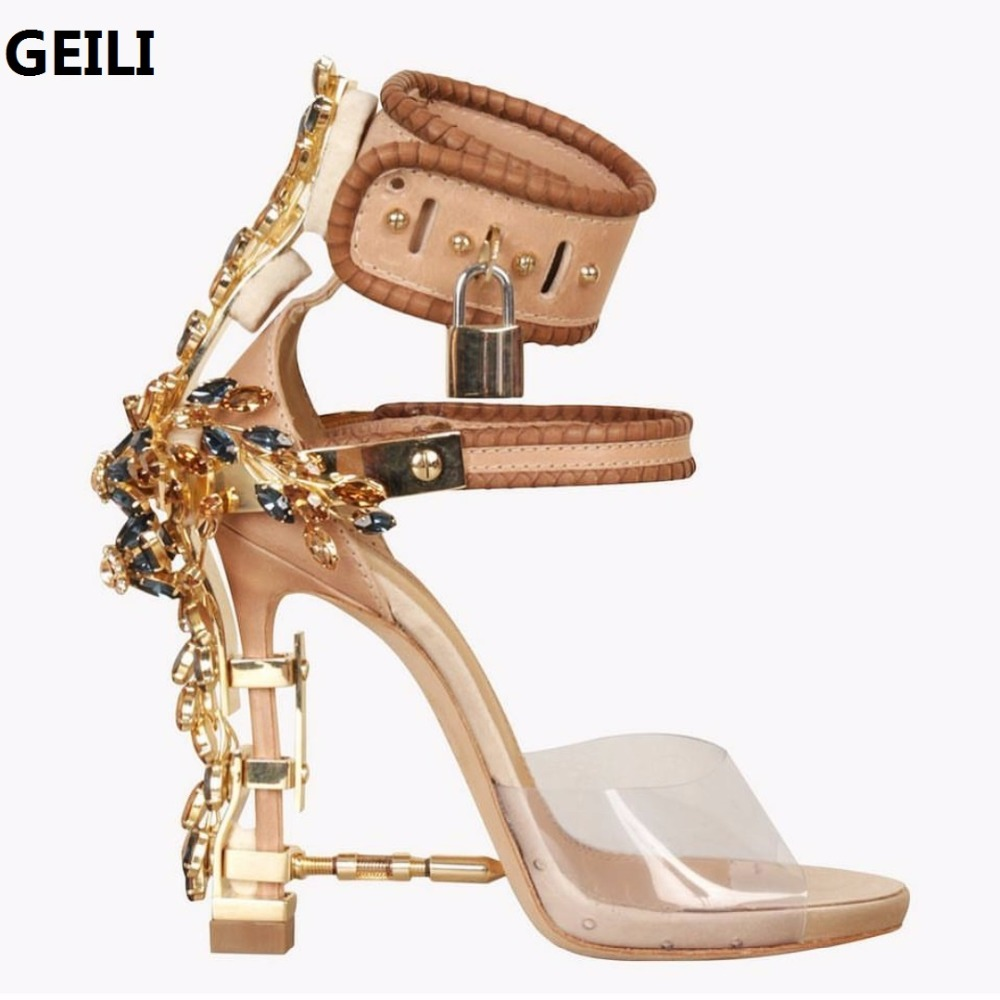 9a84eea9e76d4 high quality Design PVC Gladiator Sandal Women Transparent Rhinestone  Diamond Jeweled High Heel Shoe Woman Ankle