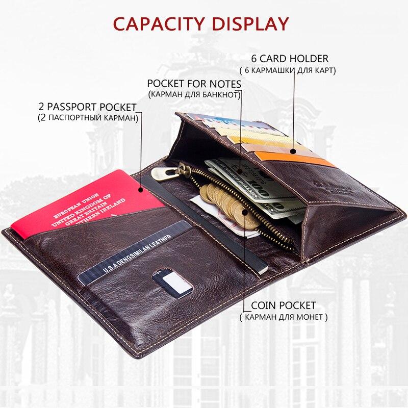 Image 2 - 2020 Contacts Genuine Leather Vintage Wallet Passport Holder  Travel Bag Coin Purse Credit Card Wallets For Men Brand  DesignerWallets