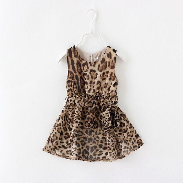 ba85d065c3130 Los niños vestidos de la muchacha vestido de leopardo de impresión sin  mangas de la gasa