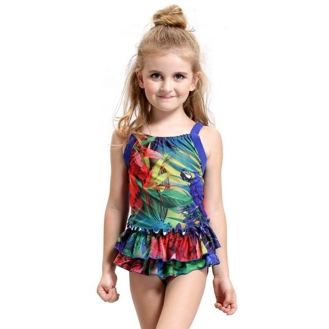27cbdc5718 Lovely Baby One Piece Swimsuit Girls Skirtini Forest Swimwear for kids  skirt Beach Swim bathing Suit child Teen tankini