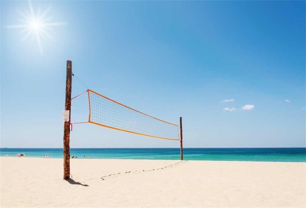 Laeacco Sea Beach Volleyball Net Sun Scenic Photography