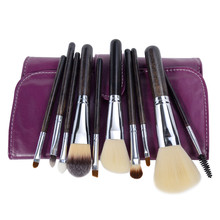 цены Professional Makeup Brushes Set 10 Pieces Synthetic Hair Makeup Tools Kit with Case