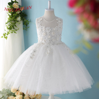NIXUANYUAN 2017 New White Ivory Tulle Ball Gown Short Flower Girl Dresses 2017 O Neck Appliques