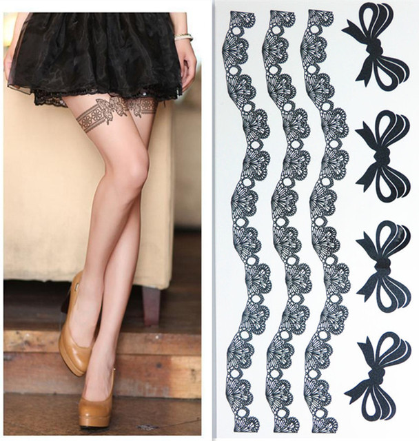 Waterproof Temporary Tattoo Stickers Sexy Black Lace Bows Designs Body Thigh Art Man Woman Make Up Tool