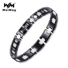 Welmag трендовые черно белые керамические браслеты и магнитные
