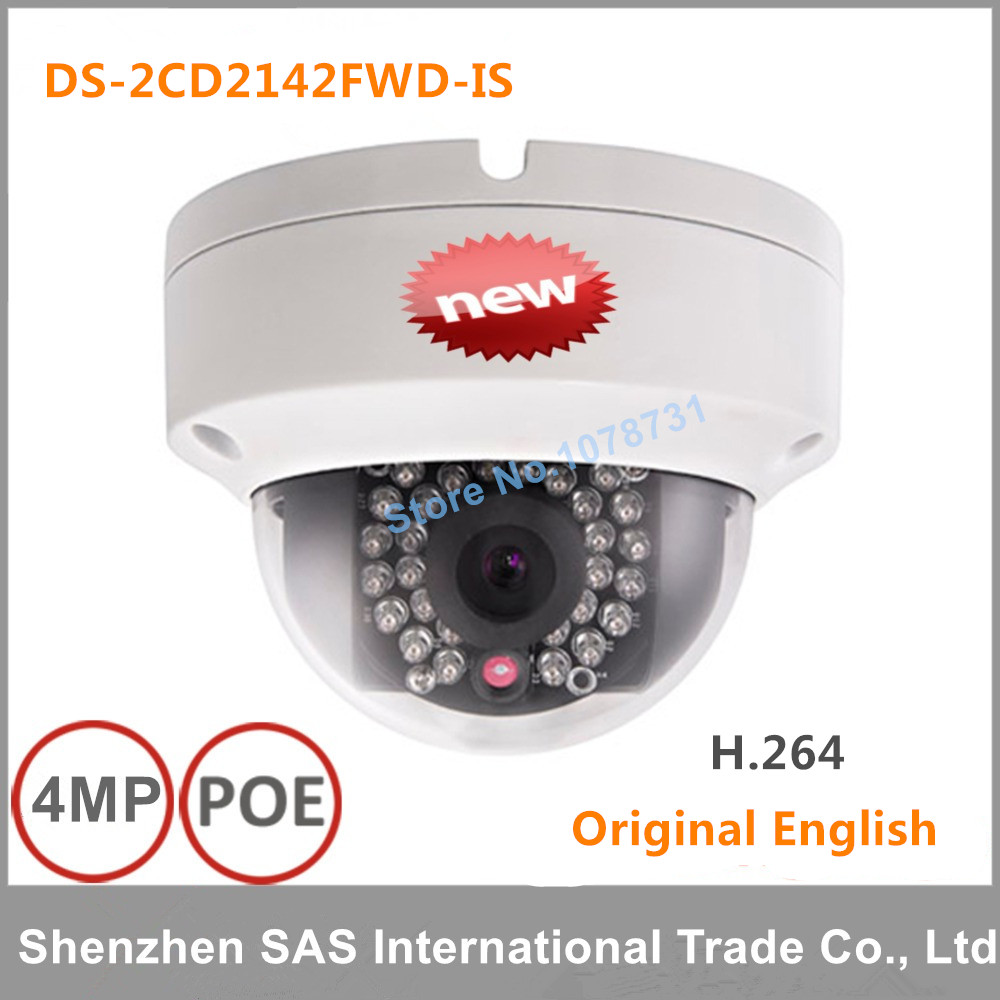 4pcs/lot English version Hikvision DS-2CD2142FWD-IS 4MP mini dome network cctv camera, P2P 1080p IP camera POE 120dB WDR 16pcs lot hikvision ds 2cd2735f is ip camera 3mp full hd ip66 dome camera water proof poe power network ir