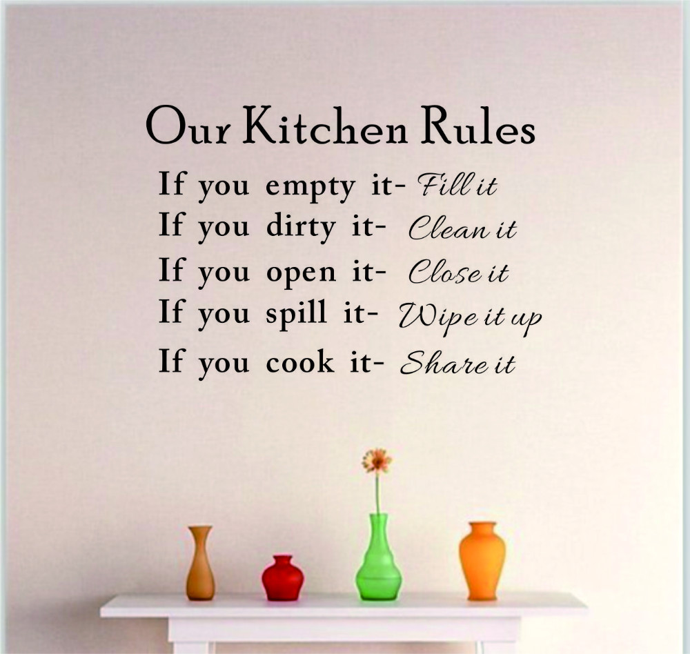 Wall art kitchen quotes - Diy Kitchen Rules Wall Quote Sticker Art Vinyl Decal Home Decor Stickers Words China