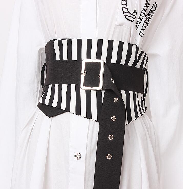 Women's Runway Fashion Striped Fabric Cummerbunds Female Dress Corsets Waistband Belts Decoration Wide Belt R1674