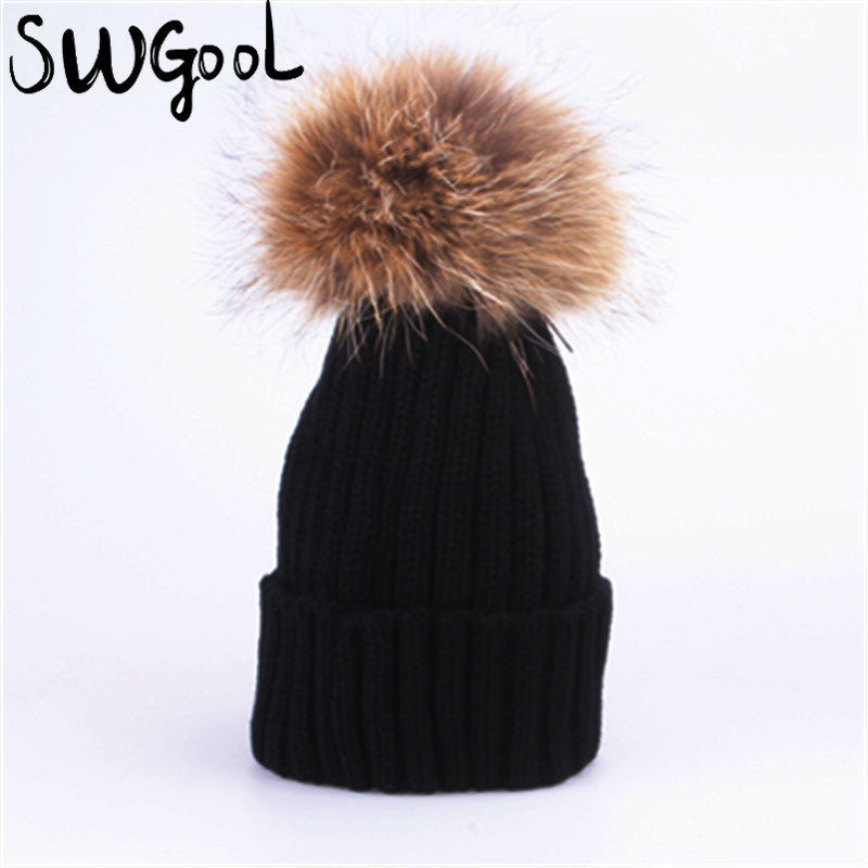 [SWGOOL] Beanies 2017 new winter hat for women girl 's wool hat thick cotton Knitted beanies cap female cap  free shipping [swgool] skullies