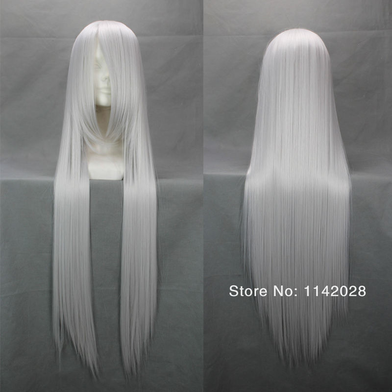 Hitman Reborn 100cm Silvery White Long Straight Synthetic Cosplay Hair Wig + Wig Cap