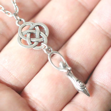 Vintage Silver Triquetra Trinity Knot Triangle Fertility Goddess Pendant Charms Chain Necklace Wicca Pagan Choker Collier Bijoux