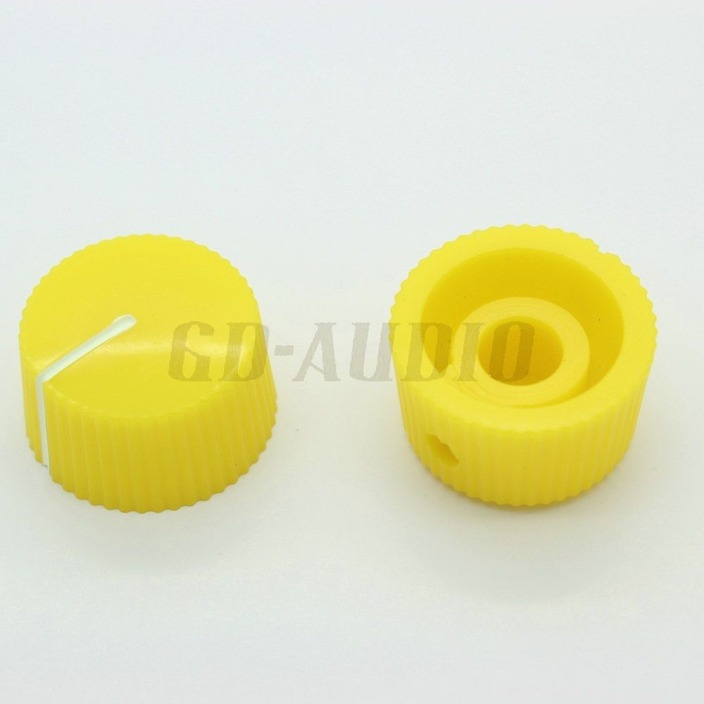 6.4mm shaft hole yellow ABS plastic pointer knob for guitar AMP effect pedal stomp box DJ mixer overdrive vintage radio