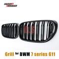 Dupla Slat Kidnery G11 G12 Frente Grills Fibra De Carbono Bumper Grille para BMW Série 7 2015-NO Sedan Cinge Mesh Grill